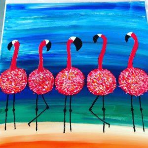 uschi polly - atelier up - malwerkstatt moedling-marketing moedling- kunstkurs modling- kunst workshop moedling- Uschi Polly- color up your life- flamingo