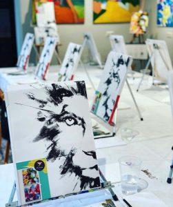 Artbird Party von Uschi Polly und Desiree Hackl im Atelier UP