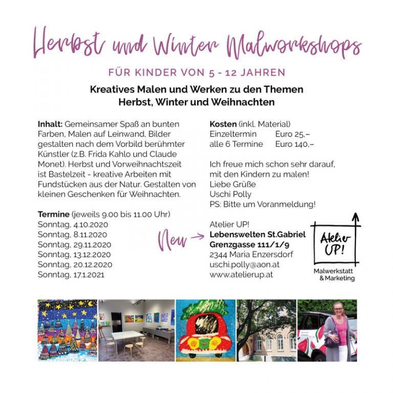 Atelier UP! Malworkshops in Mödling Herbstkurse 2020