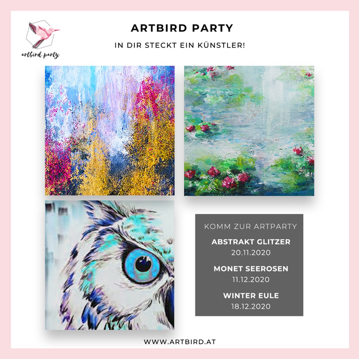 Artbird Party von Uschi Polly und Desiree Hackl im Atelier UP in Mödling