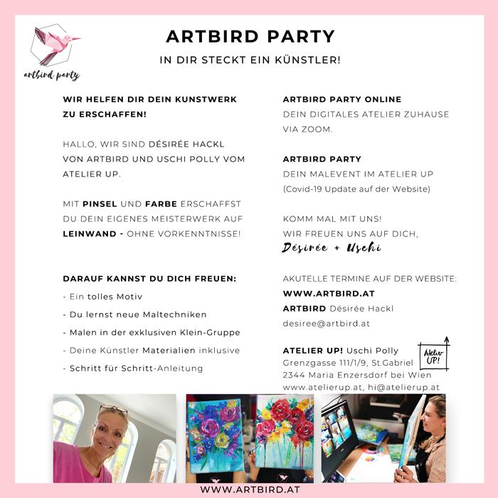 Artbird Party Flyer 2021 Atelier Up Uschi Polly