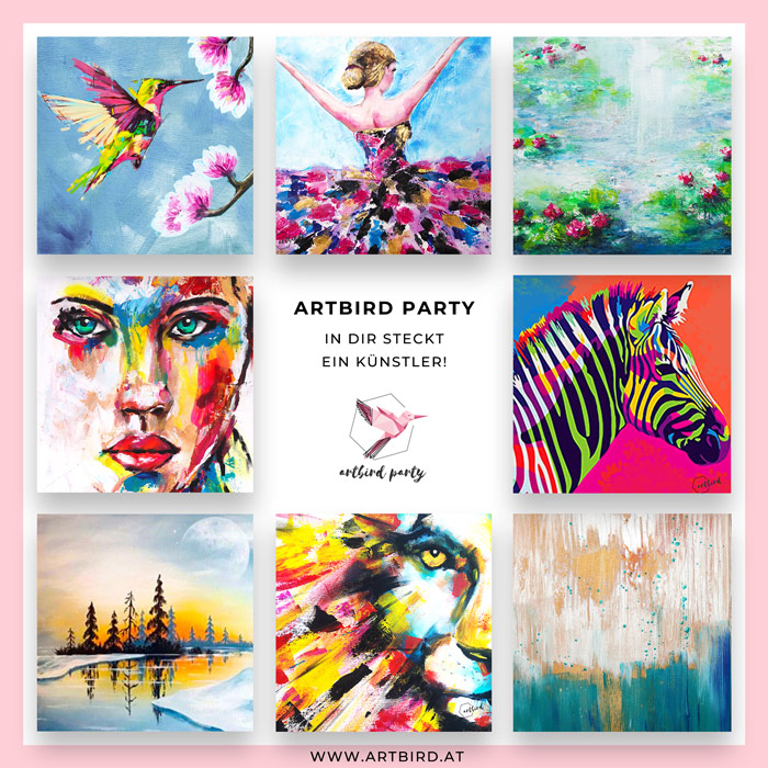 Artbird Party Flyer 2021 Atelier Up Uschi Polly