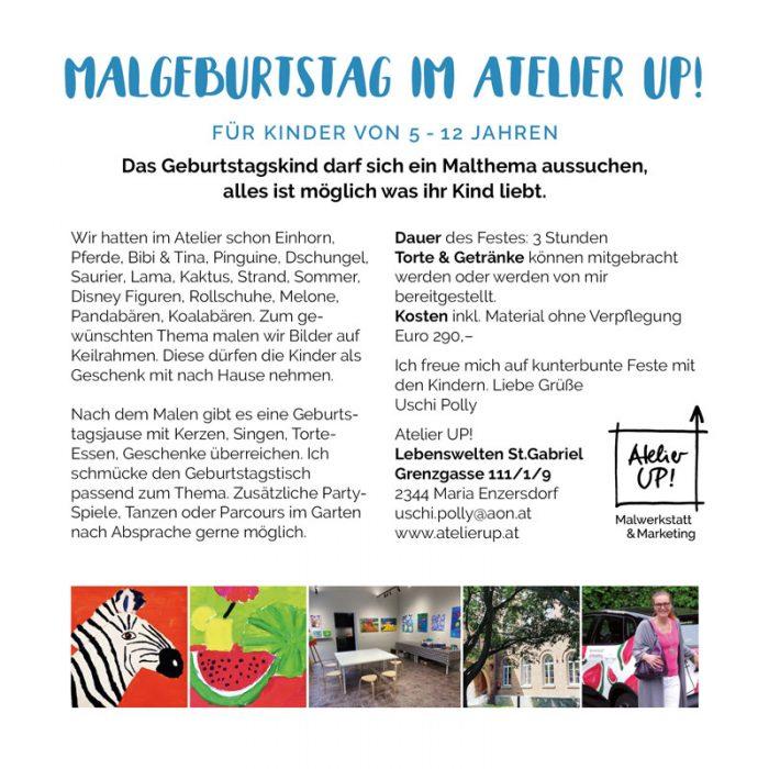 Malworkshops und Malgeburtstage für Kinder in Mödling in 2020 im Atelier UP